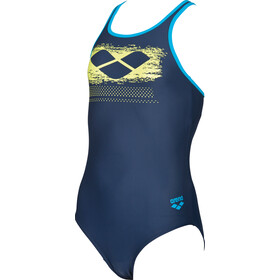 arena Scratchy One Piece Swimsuit Girls navy-turquoise